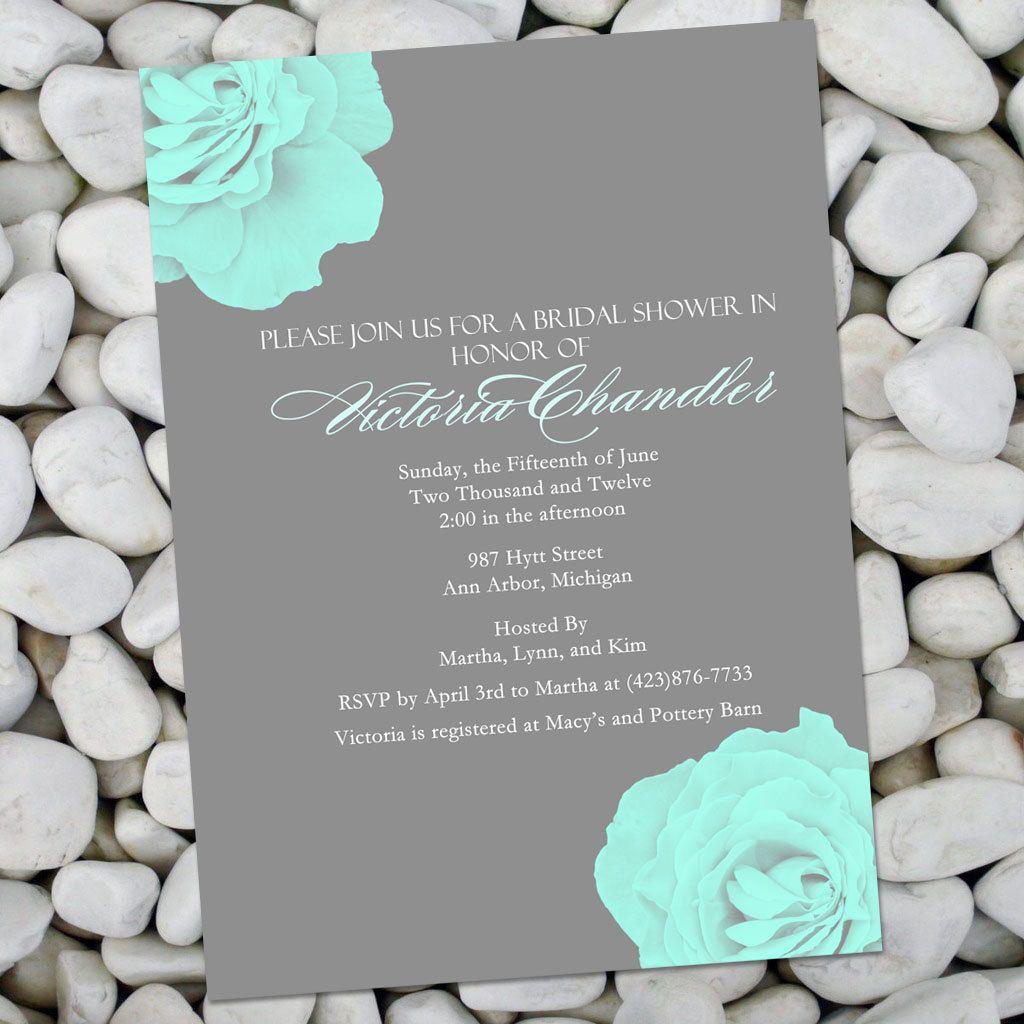 Invitations Blue Wedding Invitations Bridal Shower Invitations Gray Bridal Shower