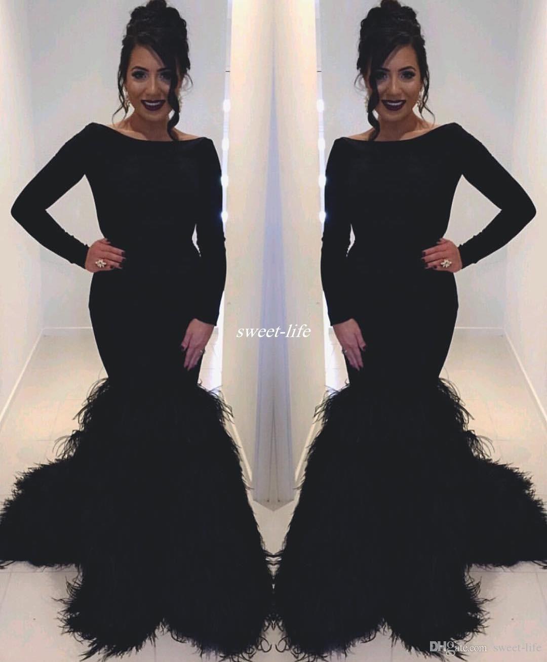 Black 2017 Long Sleeve Feather Evening Dresses Bateau Neck Mermaid Satin  with Train Zipper Celebrity Pageant a5d556508e40
