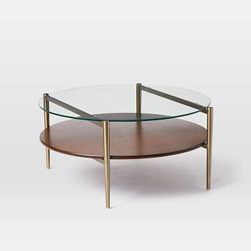 Art Display Coffee Table Glass Walnut Antique Brass