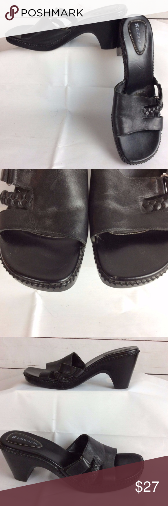 NATURALIZER Women's Black Leather Heel Sandal Shoe Black