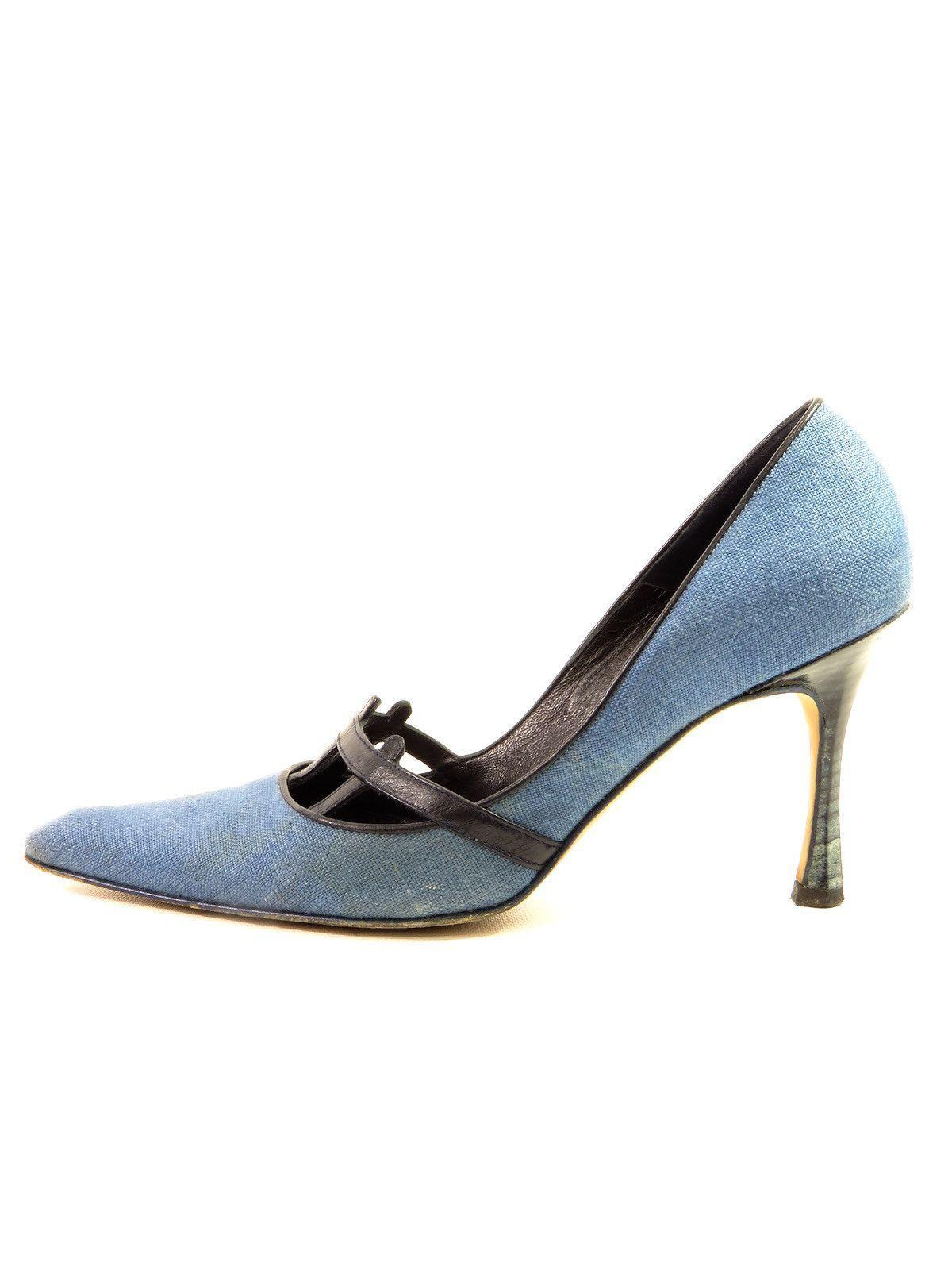 97da0943edf MANOLO BLAHNIK Women Blue Denim Black Leather Pointed Toe Pumps Kitten  Heels Shoes 36.5 Kitten Heel