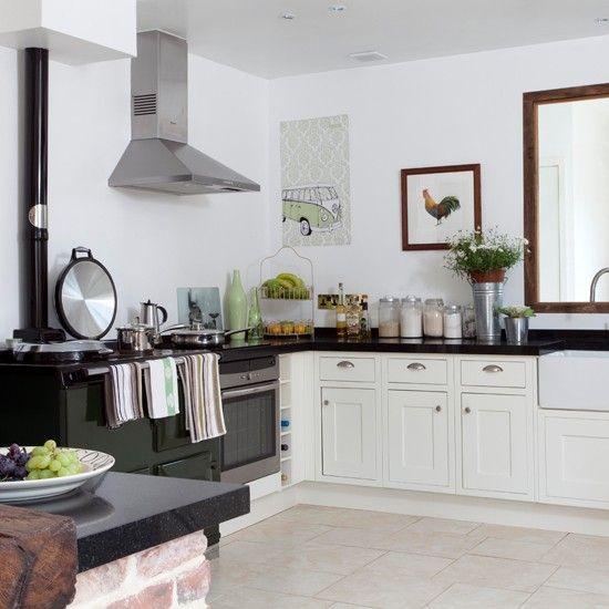 Love these Limestone tile floors - White country kitchen | Kitchen design | White kitchen units | Image | Housetohome