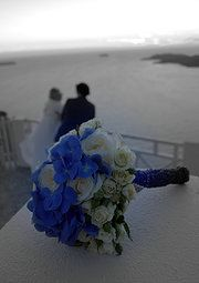 blue and white bouquet creative by santo weddings by mk
