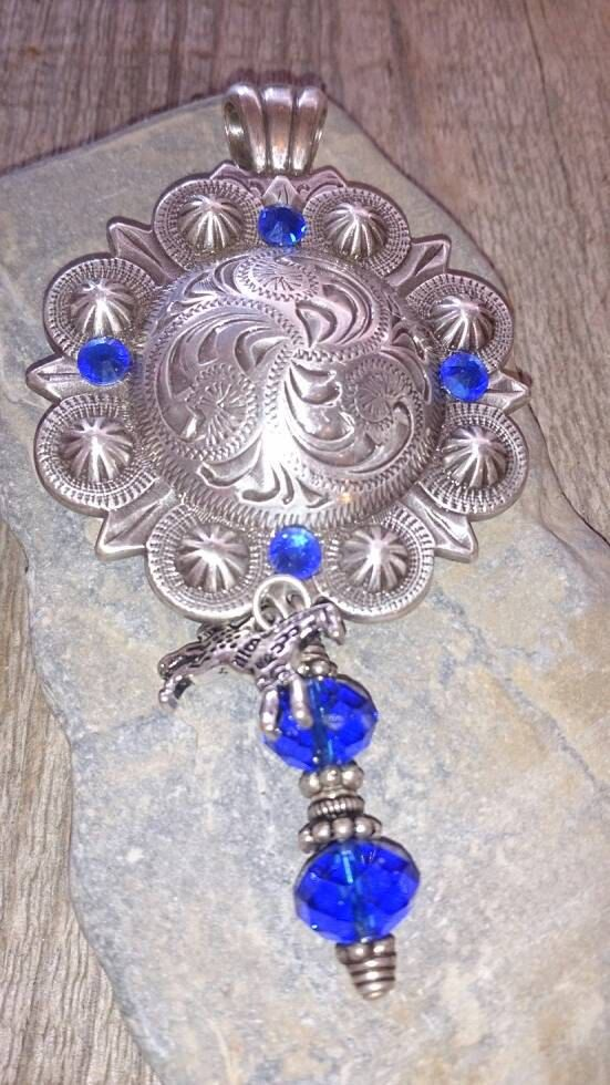 Western Silver Concho Pendant By MontanaCowgirlCorral