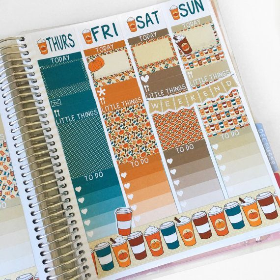 Halloween pumpkin spice latte fall planner sticker kit for october affiliate link