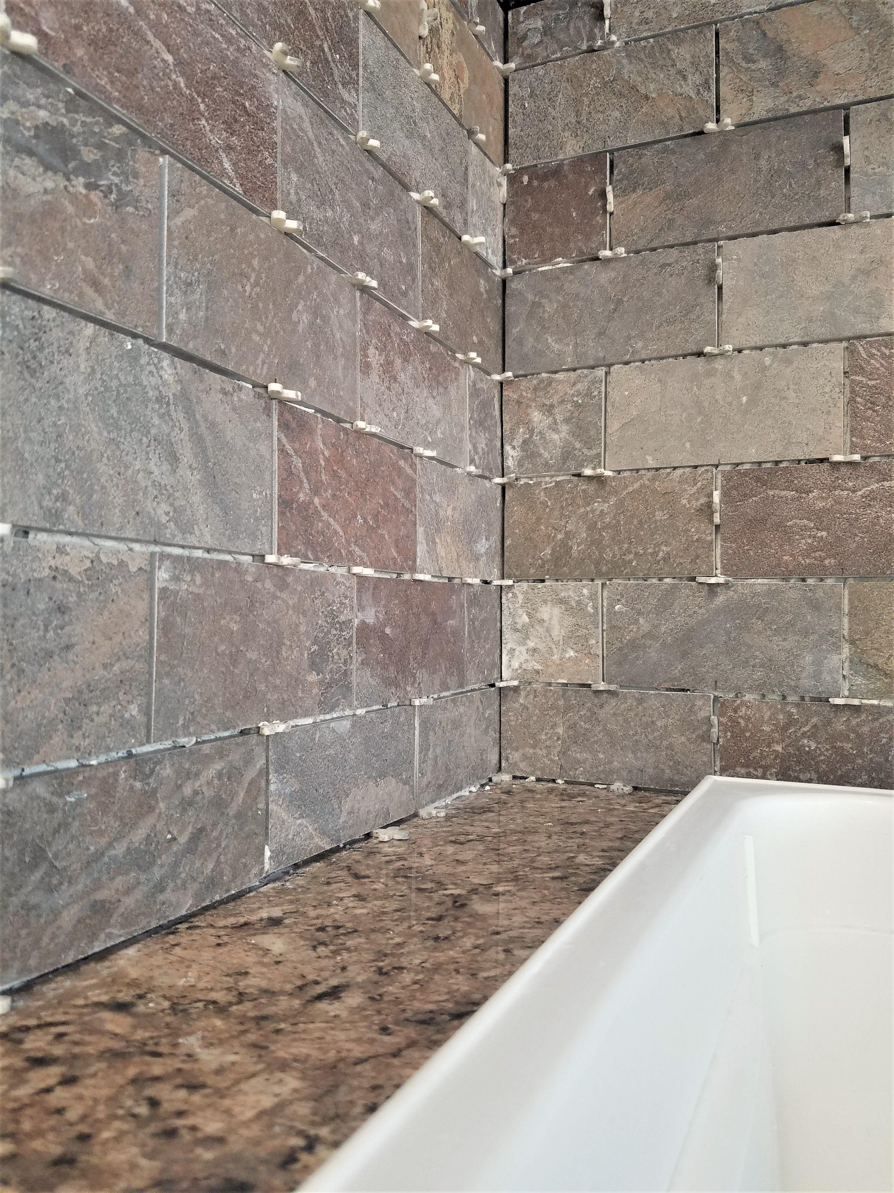 How To Install A Tile Backsplash Over Drywall Renee Romeo Stone Tile Backsplash Backsplash Tile Backsplash