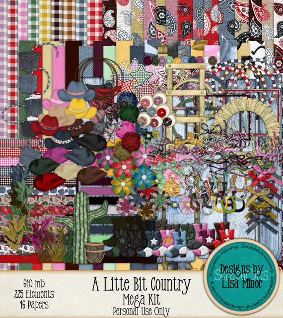 A Little Bit Country Scrapbook Kit, digital scrapbook, cowboy scrapbook, western scrapbook, cowboy clip art, western clip art, cowboy boots, tumbleweed, paisley paper, cowboy paper, cowboy hats, digital western, digital cowboy, digital western kit, digital cowboy boots
