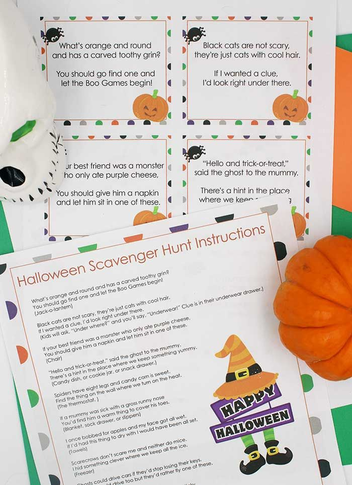 Fun Halloween Scavenger Hunt with Printable Clues