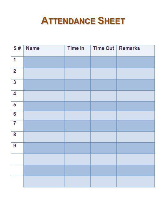 Attendance Sheet   Work    Attendance Sheet