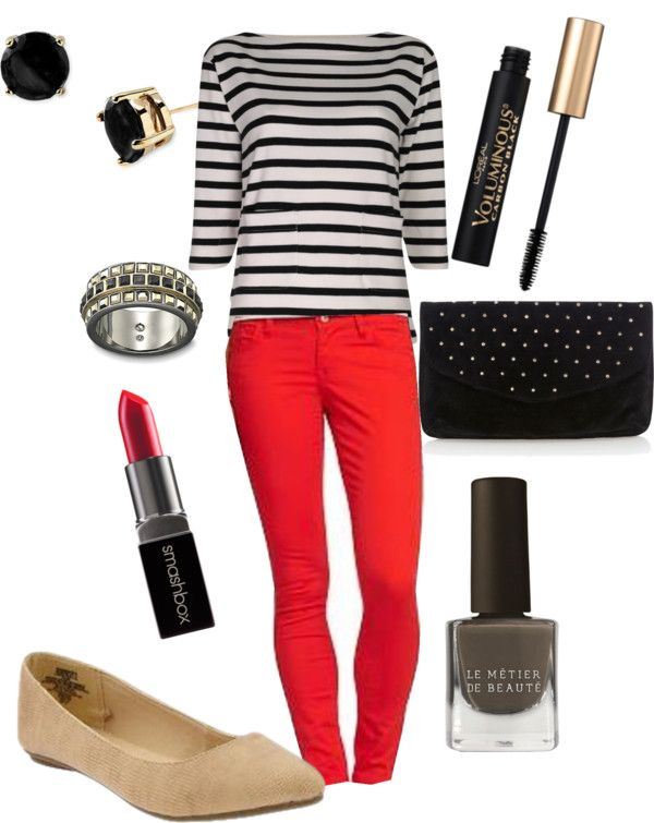 """""""Striped Top and Red Jeans"""" by mlc04536 on Polyvore"""