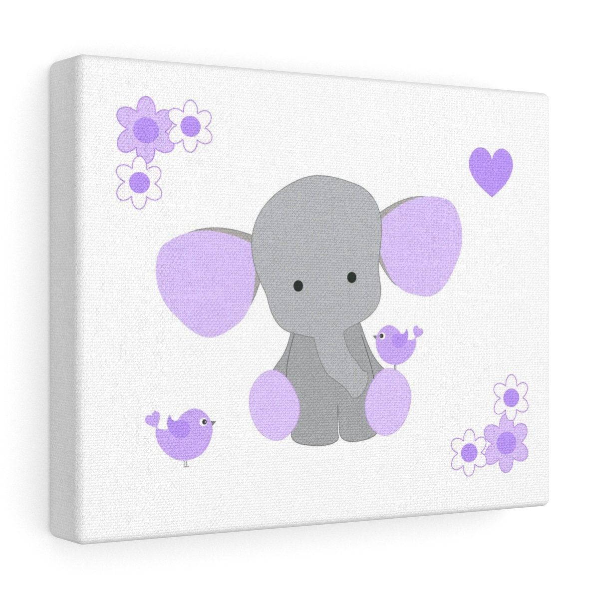 NURSERY CANVAS PRINT Baby Girl Purple Lavender Elephant Wall Art Print Kids Floral Room Decor  Chickadee Bird  Baby Girl Shower Gift