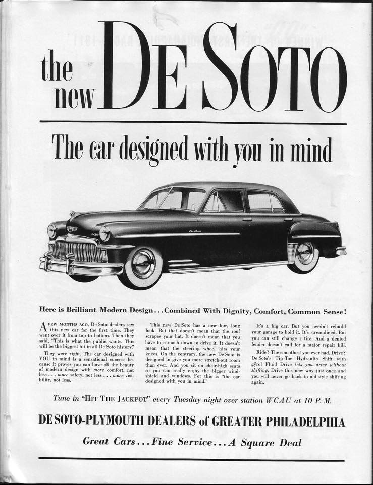 """DeSoto: """"the car designed with you in mind"""" 1949 Philadelphia ..."""