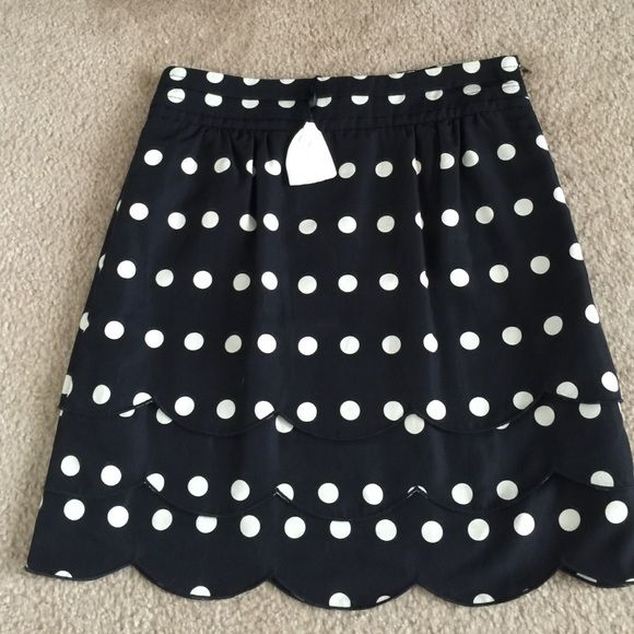 NWOT Anthropologie skirt! This lovely skirt has never been worn. Ordered online and came without tags. As Anthro sometimes does with online orders. Extra button is still attached. Polka dots, Ruffles are perfect pretty combo! Anthropologie Skirts