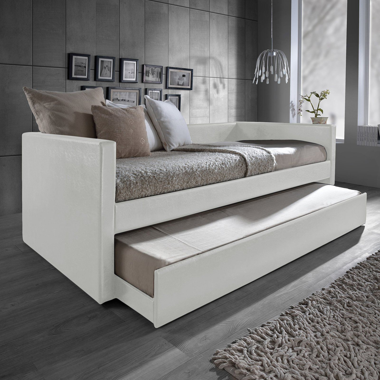 Baxton Studio Risom Upholstered Twin Daybed with Trundle   from ...