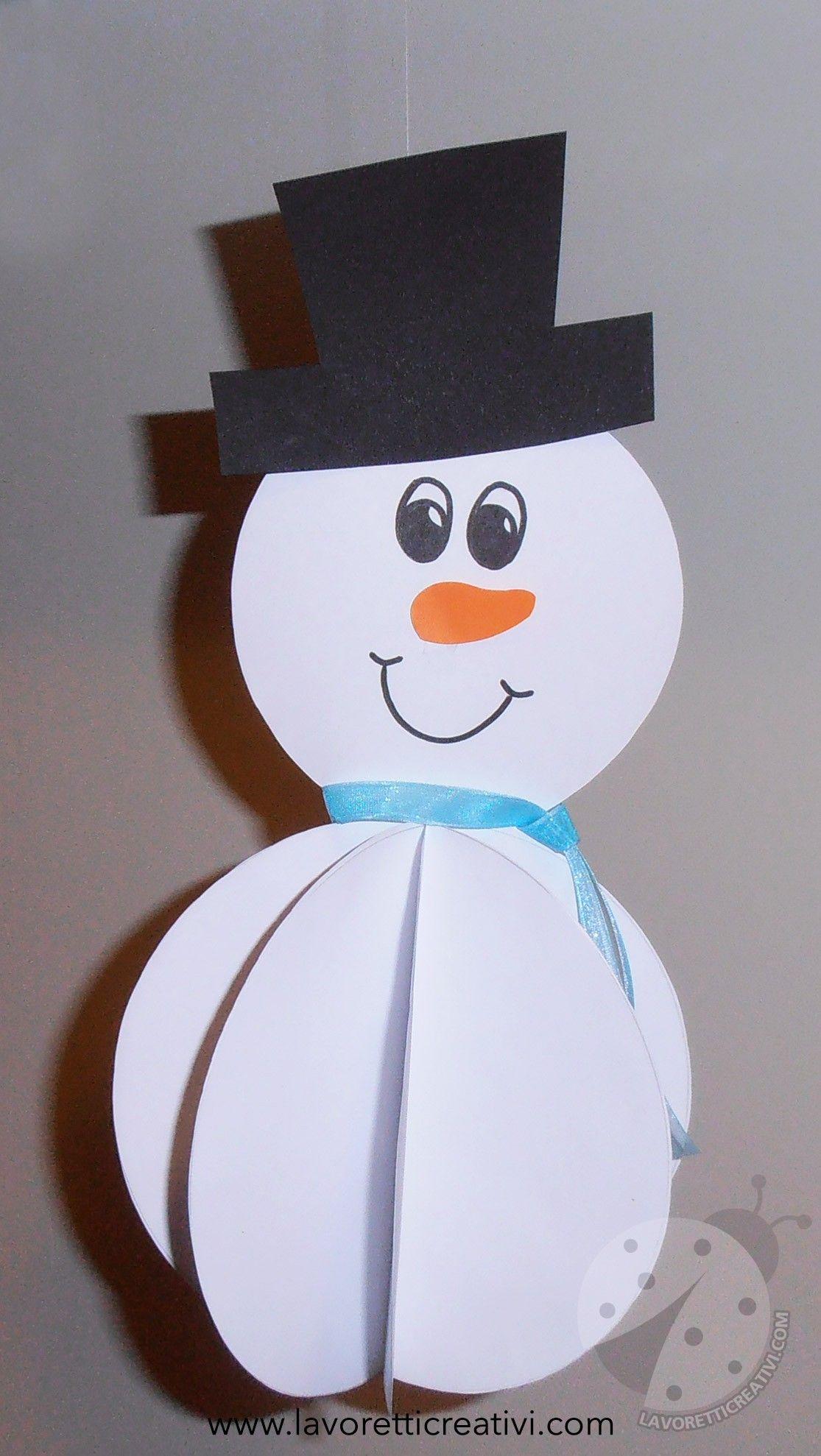 Addobbi inverno pupazzo di neve 3d lavoretti inverno for Addobbi di natale per bambini scuola infanzia