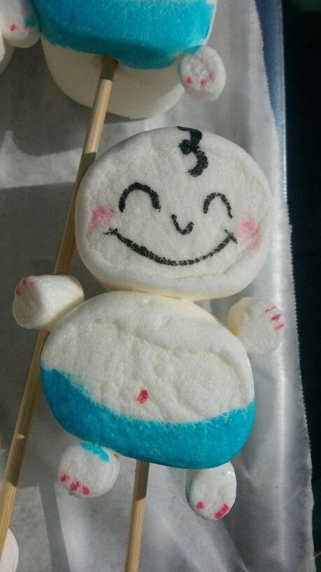 Baby marshmallow.   It's a boy. # babyshower