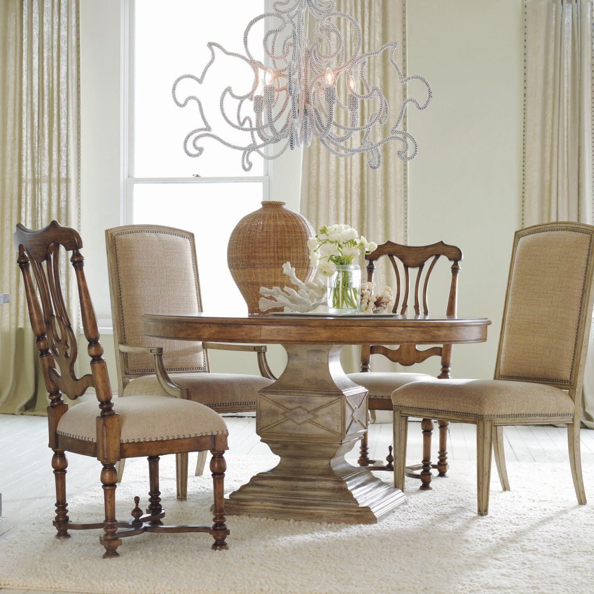 Mix And Match Chairs For A Classical Timeless Look Home Is Pleasing Circular Dining Room Table Decorating Inspiration