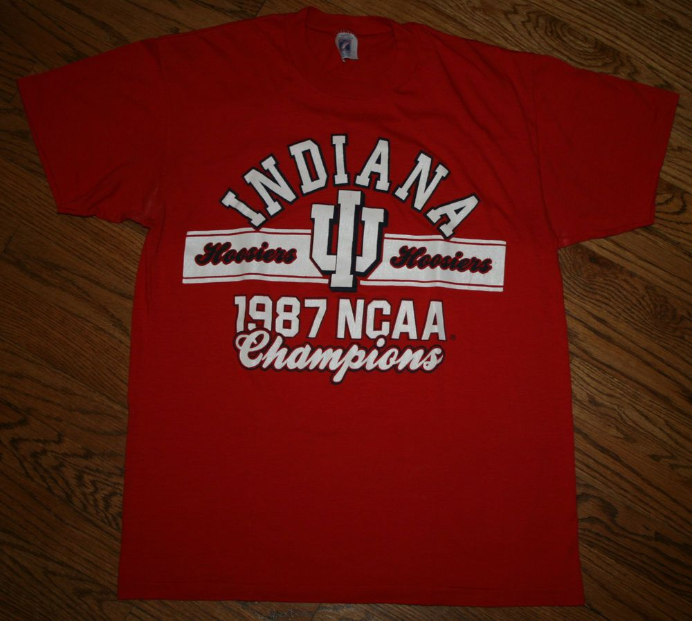 Vintage INDIANA HOOSIERS IU 1987 NCAA Championss T-SHIRT Men's Large Logo 7  #logo7 #IndianaUniversity | Mens tshirts, Retro shirts, Adidas men