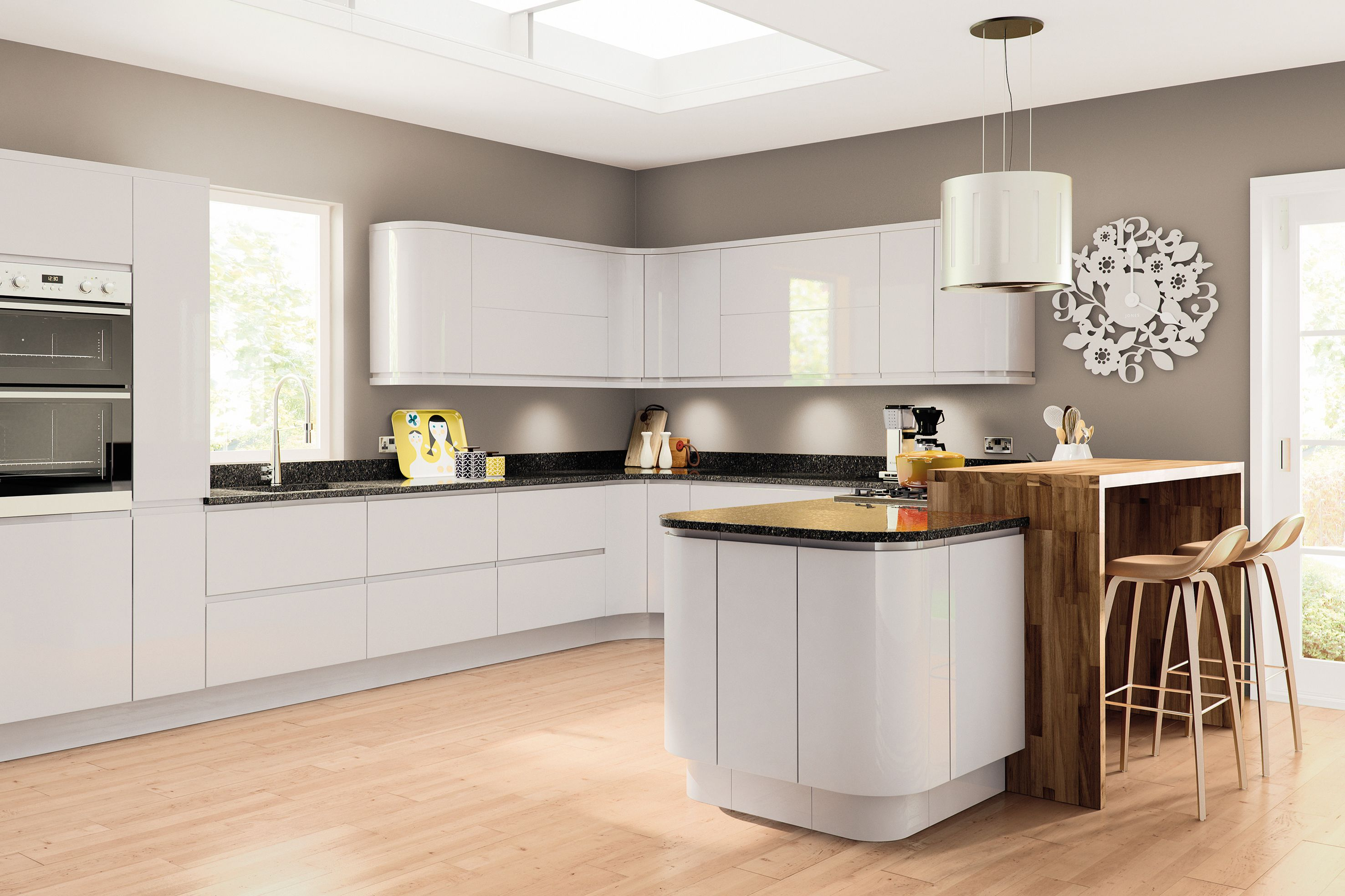 modern handleless light grey high gloss painted kitchen