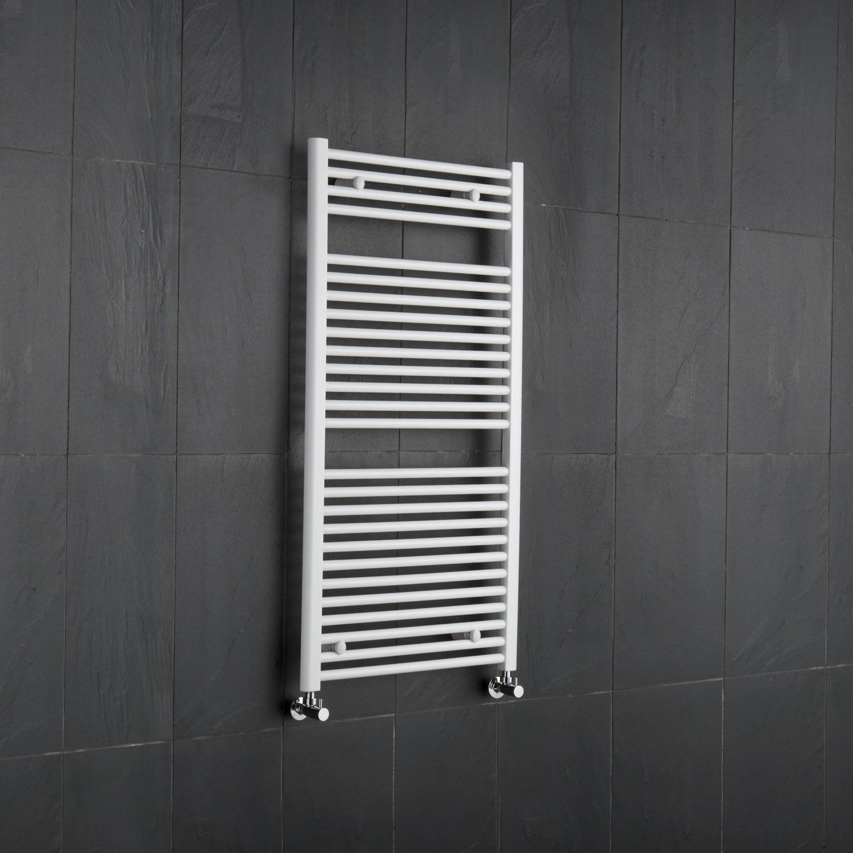 White Flat Bathroom Heated Towel Radiator Rail 47 25 X 23 5 For Closed Loop Systems Heated Towel Warmer Towel Radiator Heated Towel