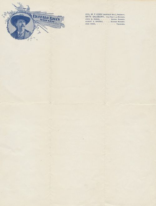 Official letterhead of Buffalo Billu0027s Wild West show, way back in - Official Letterhead