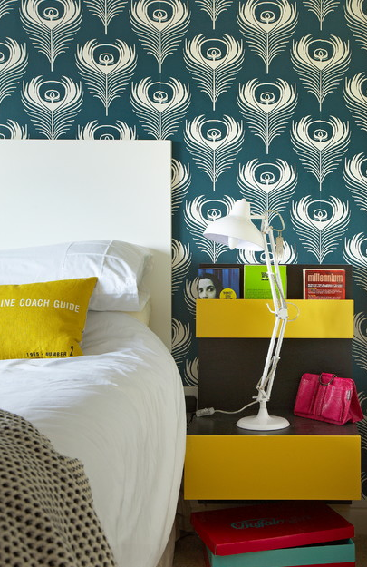 Liven things up with funky wallpaper    Source: http://www.houzz.com/photos/1576634/Quirky-House-Renovation-eclectic-bedroom-dublin