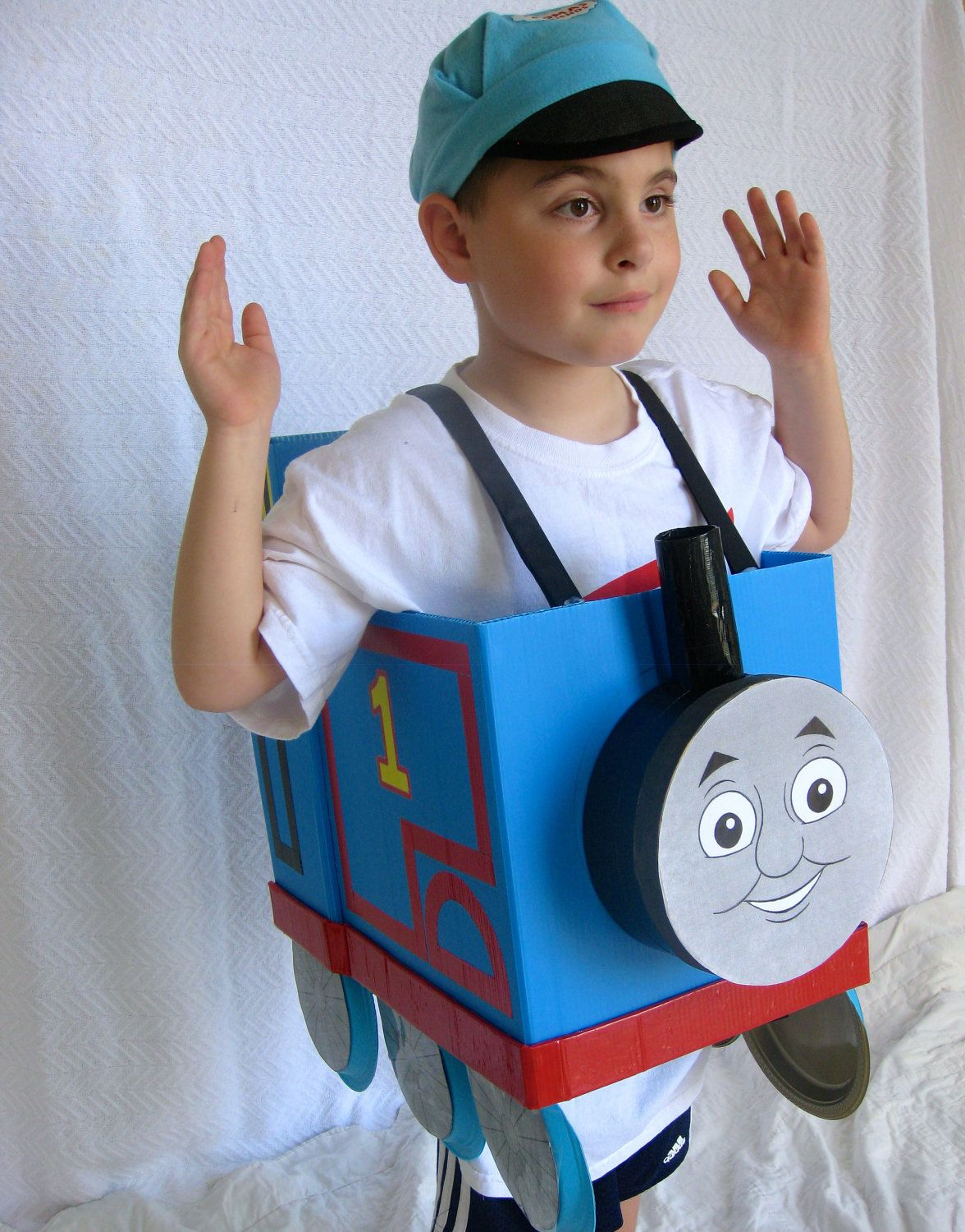 Thomas the Train costume idea. I can make with a card board box ribbon buttons paint.  sc 1 st  Pinterest & Toddler and kids Thomas the Train Costume | One night a year ...