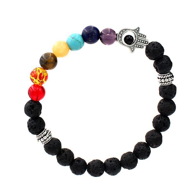 8mm Hamsa Hand Charm Black Lava Natural Stone Bead Bracelet 7 Chakra Mixed Stone Healing Chakra Pray Mala Bracelet