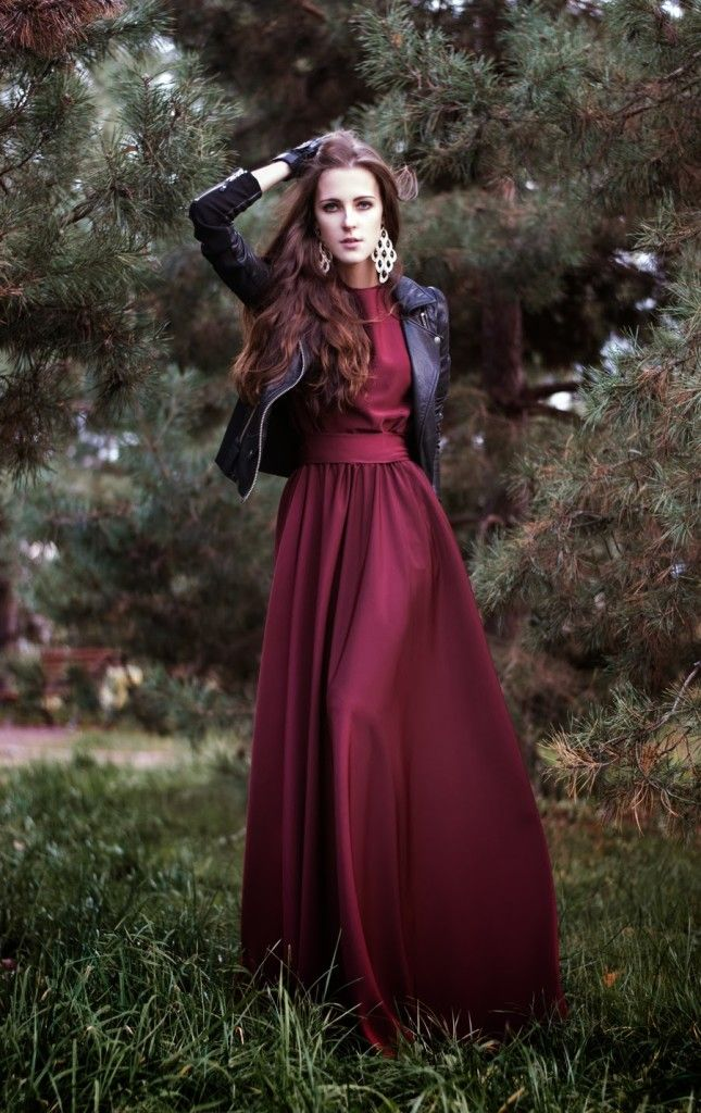 Lovely long dress and mini leather jacket Elbiseler