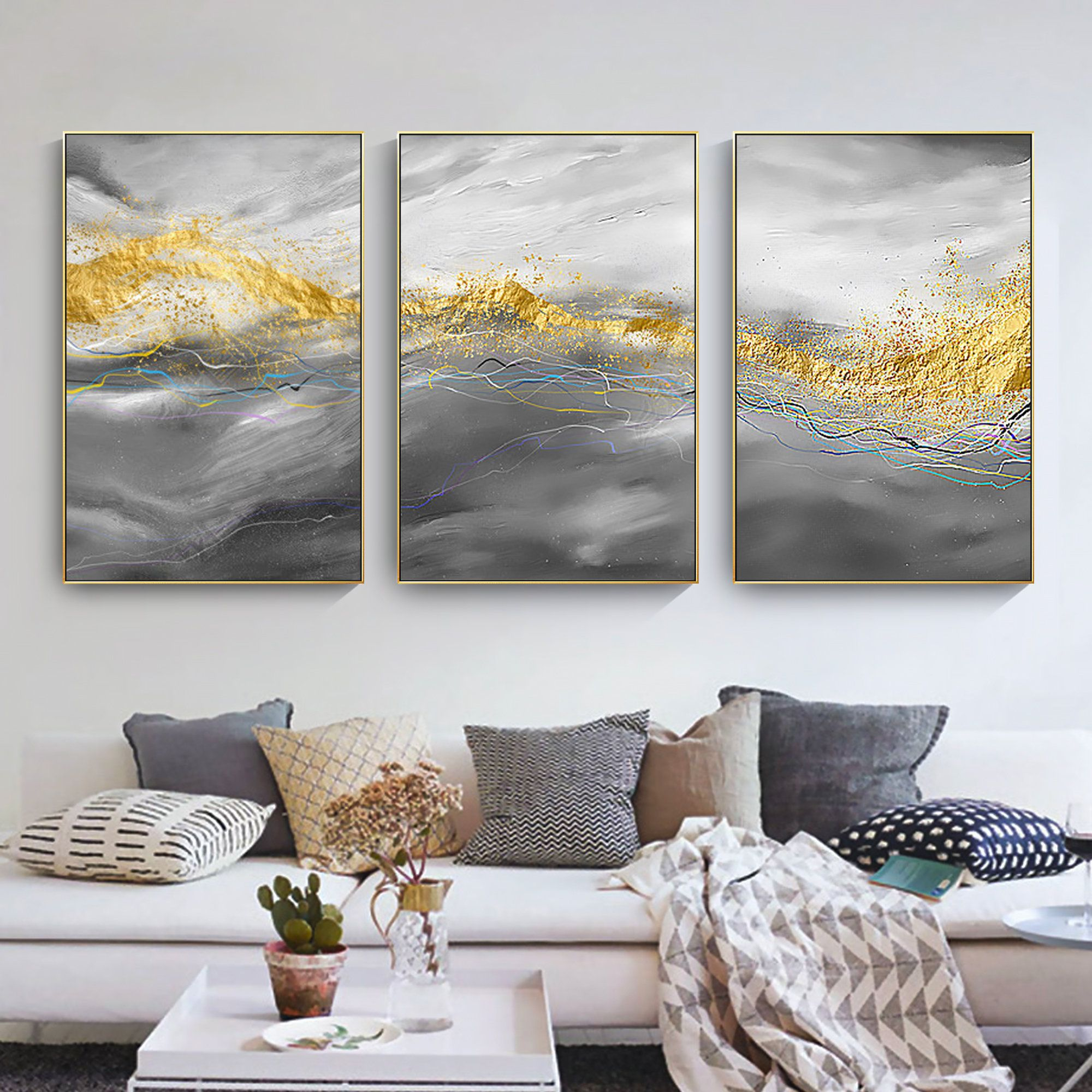 Set Of 3 Frame Wall Art Abstract Gold Grey Blue Purple Print Etsy In 2021 Framed Wall Art Sets Frames On Wall Bedroom Wall Art Canvas Modern art frames for living room