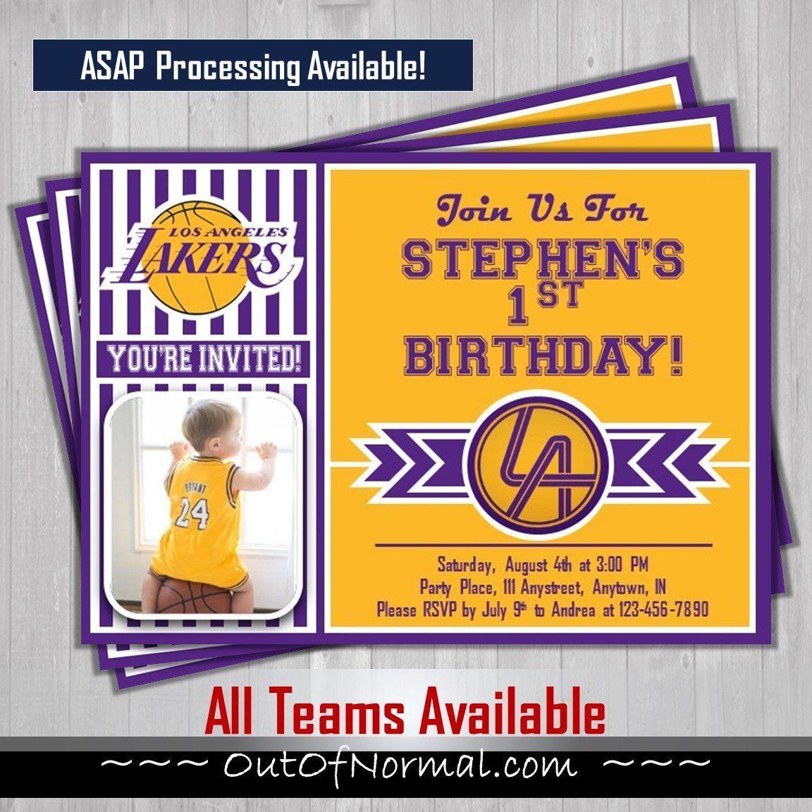 Los Angeles Lakers Nba Basketball Photo Invitation Basketball Birthday Invitations Basketball Birthday Football Birthday Invitations