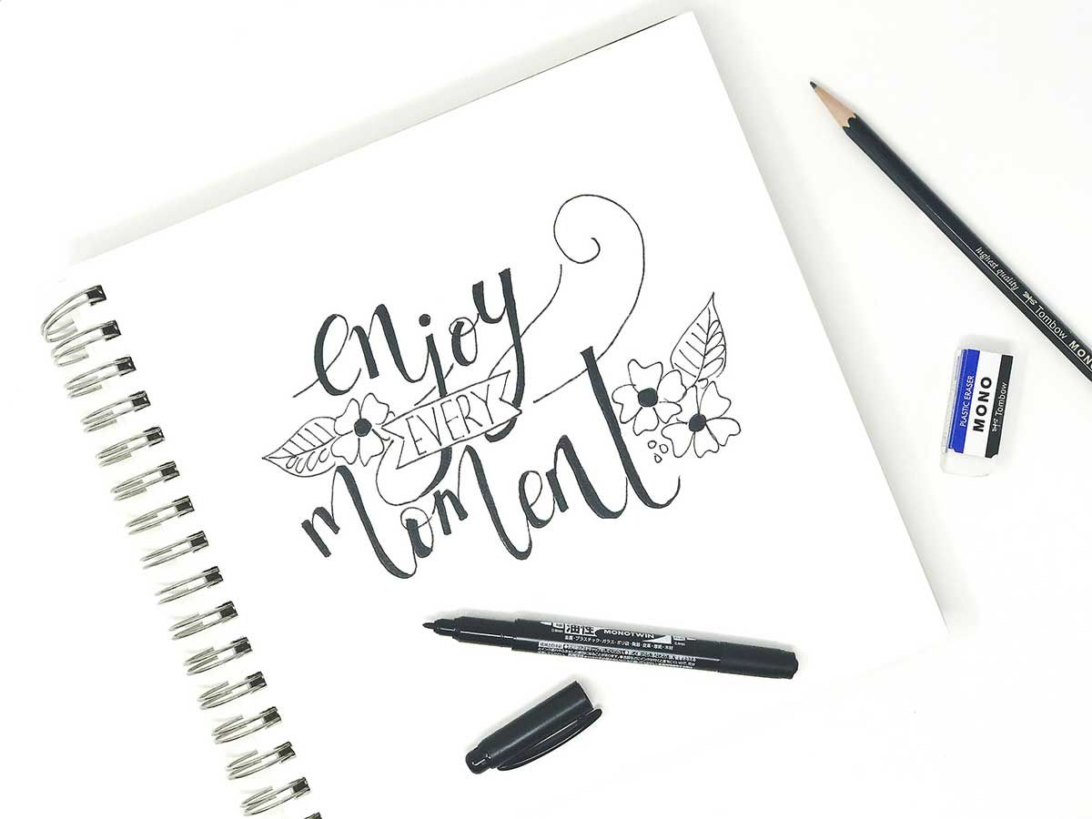 Using your pencil for Faux Calligraphy Hand lettering