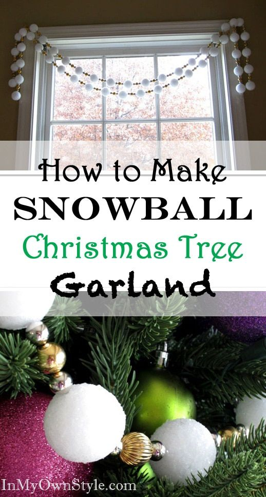create a wintry snowball christmas tree garland with styrofoam balls beads and glitter - How To Make My Own Christmas Decorations
