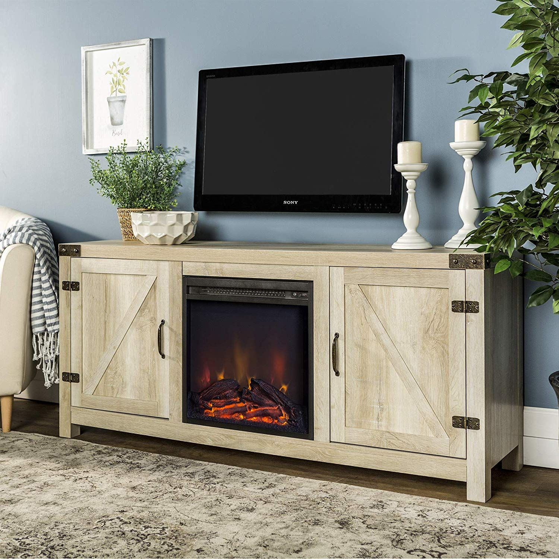 Amazon Com We Furniture Az58fpbdwo Fireplace Stand White Oak Kitchen Dining Fireplace Tv Stand Farmhouse Tv Stand Fireplace Tv