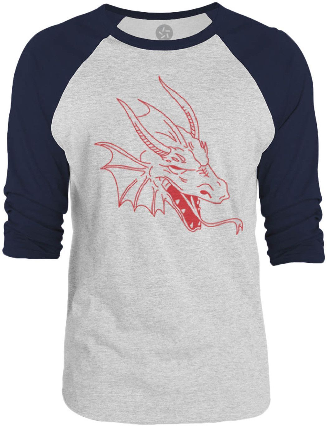 Big Texas Dragon Head (Red) 3/4-Sleeve Raglan Baseball T-Shirt