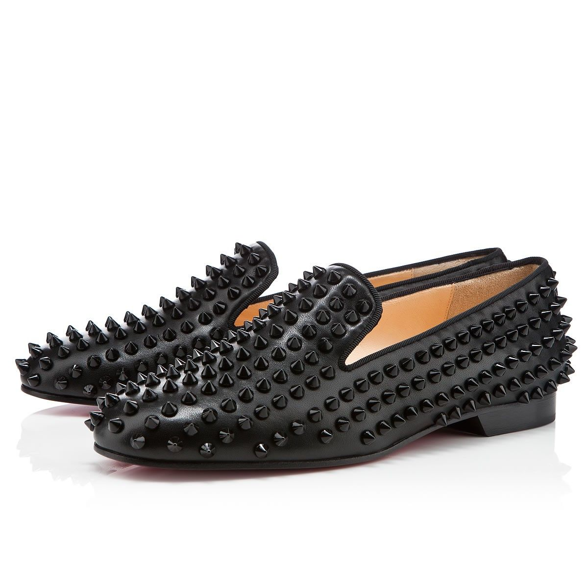 05593da4302d Rolling spikes flat black loafers by Christian Louboutin