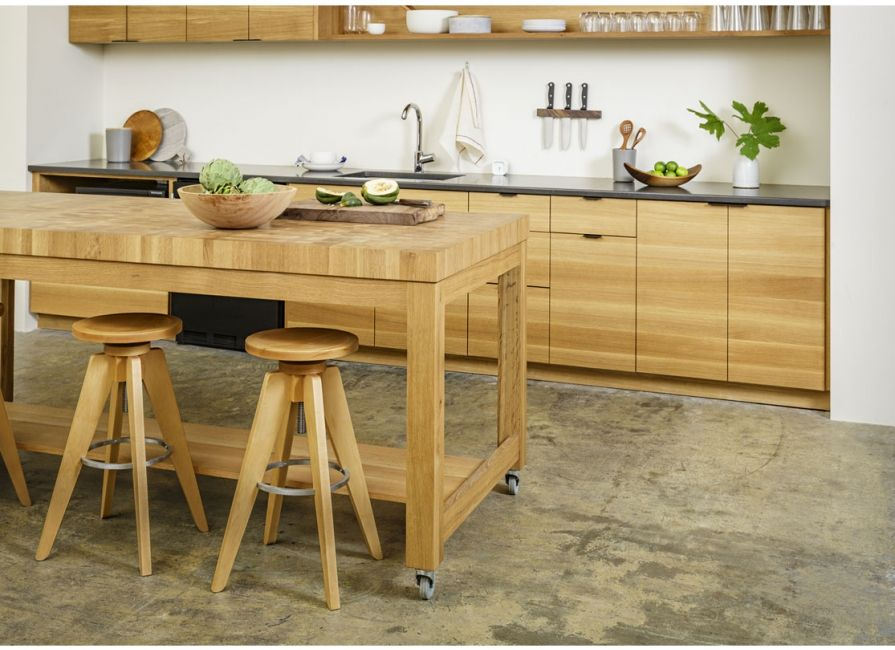 The Handcrafted Butcher Block Island Is Available In Three Standard Sizes And Six Wood Species Featured Here Small End Grain With