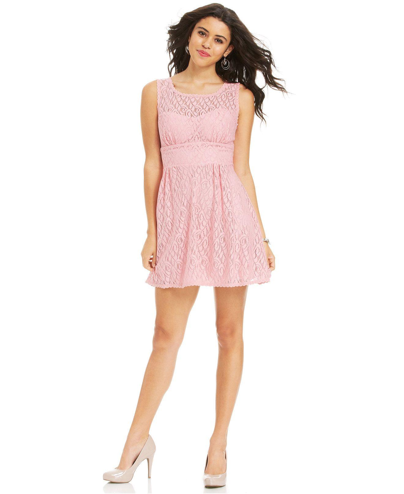 B Darlin Juniors\' Lace A-Line Illusion Dress - Juniors Dresses ...