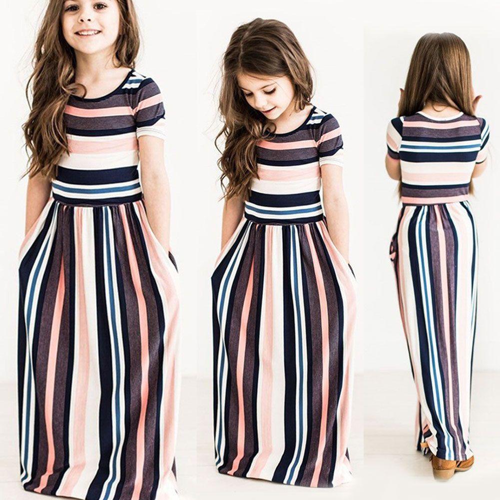 Kids girls children summer short sleeve beach boho long maxi dress