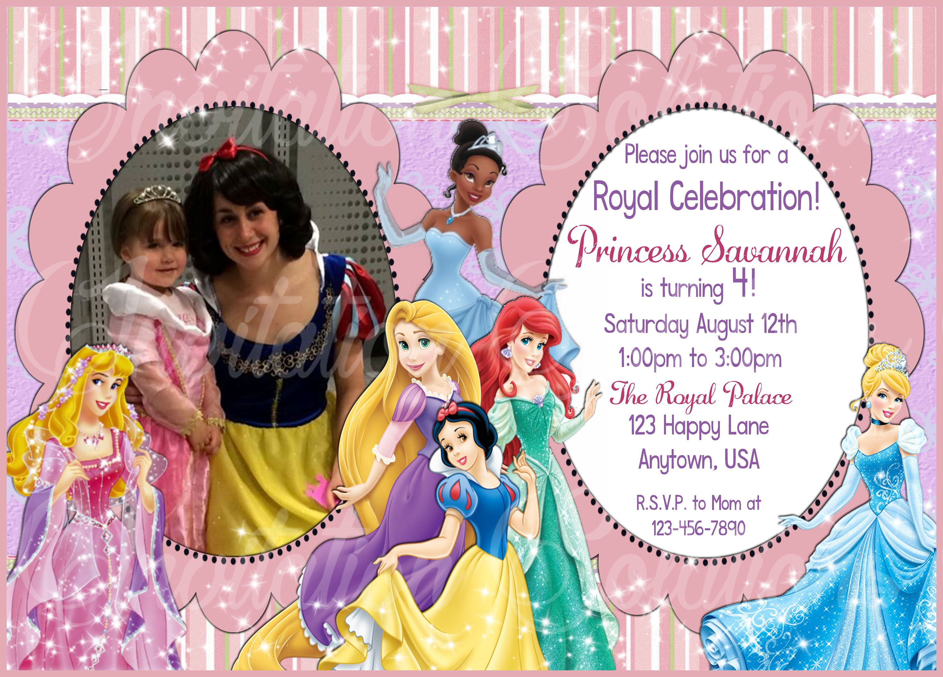 Disney Princess Birthday Invitation With Childs Photo 6 Different Princesses And Your Custom By InviteSolution On Etsy