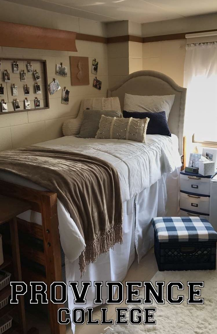 Providence College Cute Dorm Decor. Blue, white and neutral ...