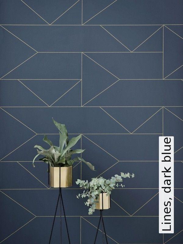 Lines, dark blue Dark blue, Dark and Interiors - tapete für schlafzimmer