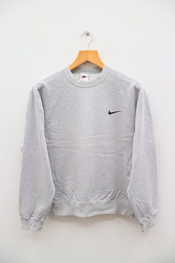 Vintage NIKE Small Logo Sportswear Gray Pullover Sweater