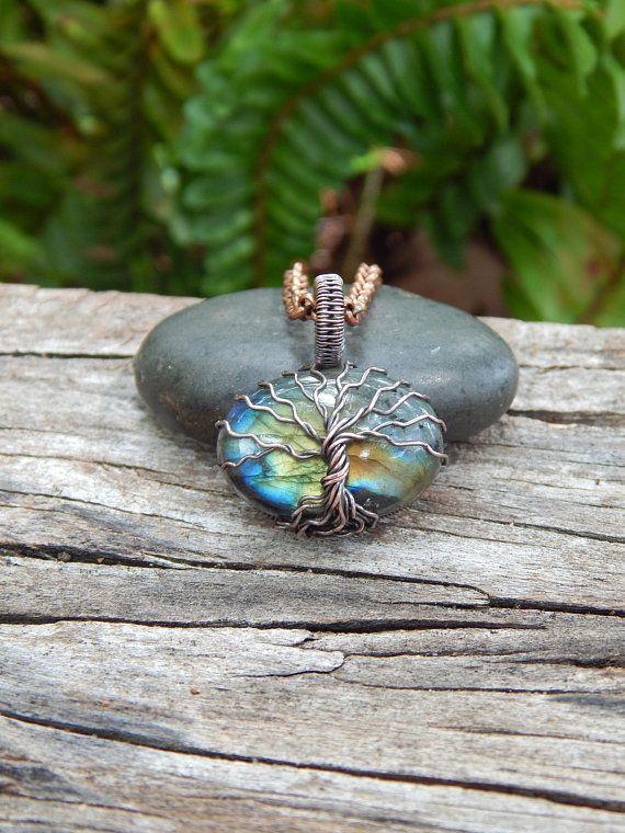 Labradorite tree of life pendant, nature inspired, botanical gift ...