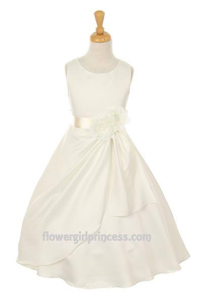 f6a869315d3 Flower Girl Dresses - Ivory Flower Girl Dresses - CC1165 - Wedding Satin  Flower Girl Dress with Ivory Ribbon