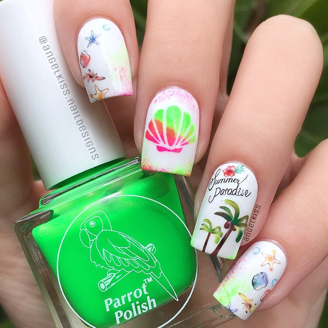 Tropical or beach themed nail decals | Pinterest