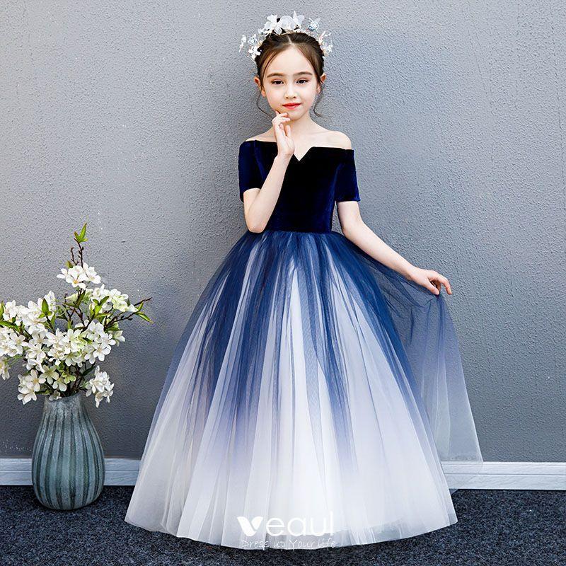 Elegant Navy Blue Gradient-Color Suede Flower Girl Dresses 2019 Ball Gown Off-The-Shoulder Short Sleeve Floor-Length / Long Ruffle Backless Wedding Party Dresses -   19 dress Flower Girl blue ideas