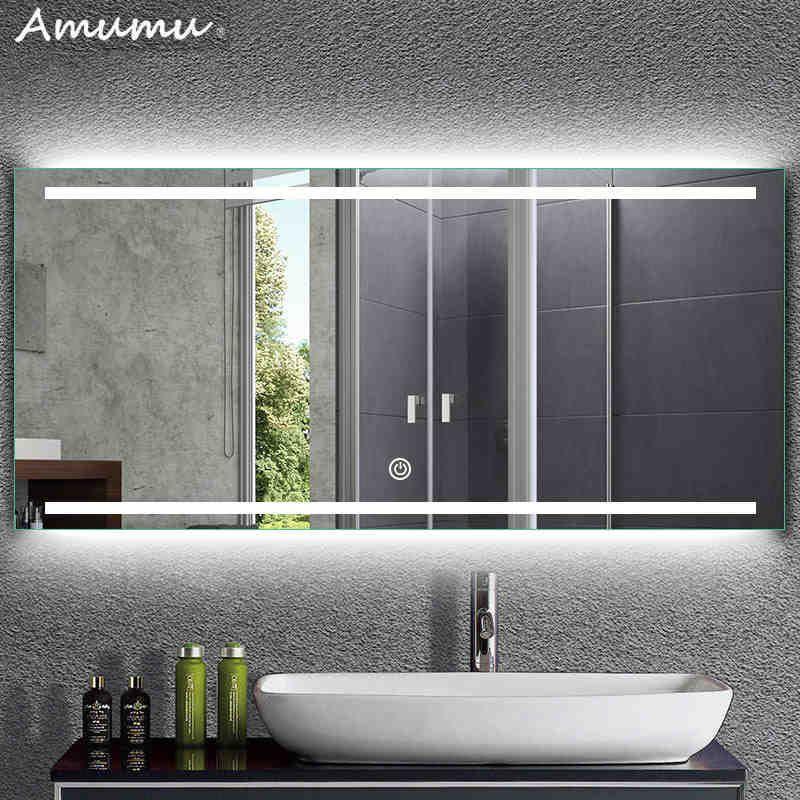 智能led灯防雾浴室镜壁挂镜卫浴镜卫生间洗手间带灯厕所镜子定制 Tmall