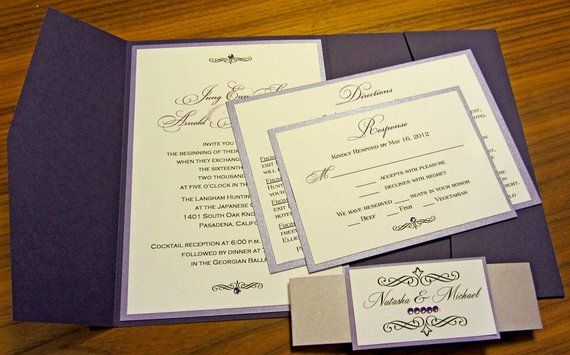 Shades of Purple Pocketfold Wedding Invitation, Purple Pocket Fold
