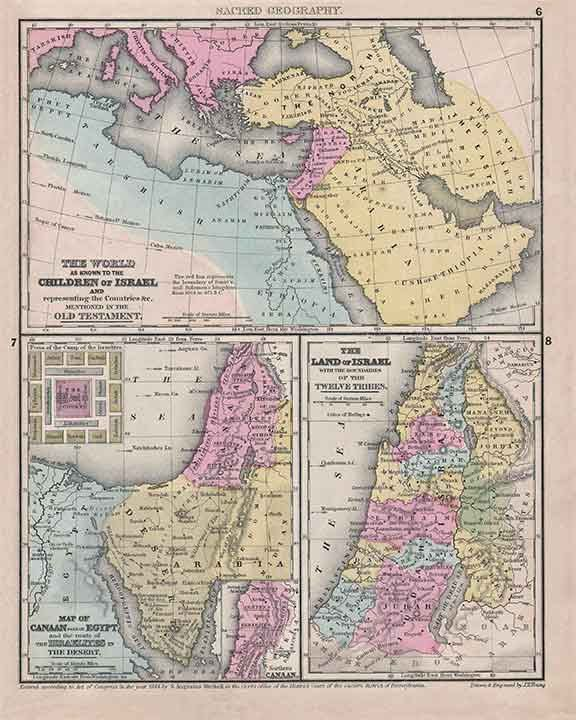 Israel 1844 antique tri part map of ancient israel by jh young the world as known to the children of israel and representing the countries c gumiabroncs Gallery
